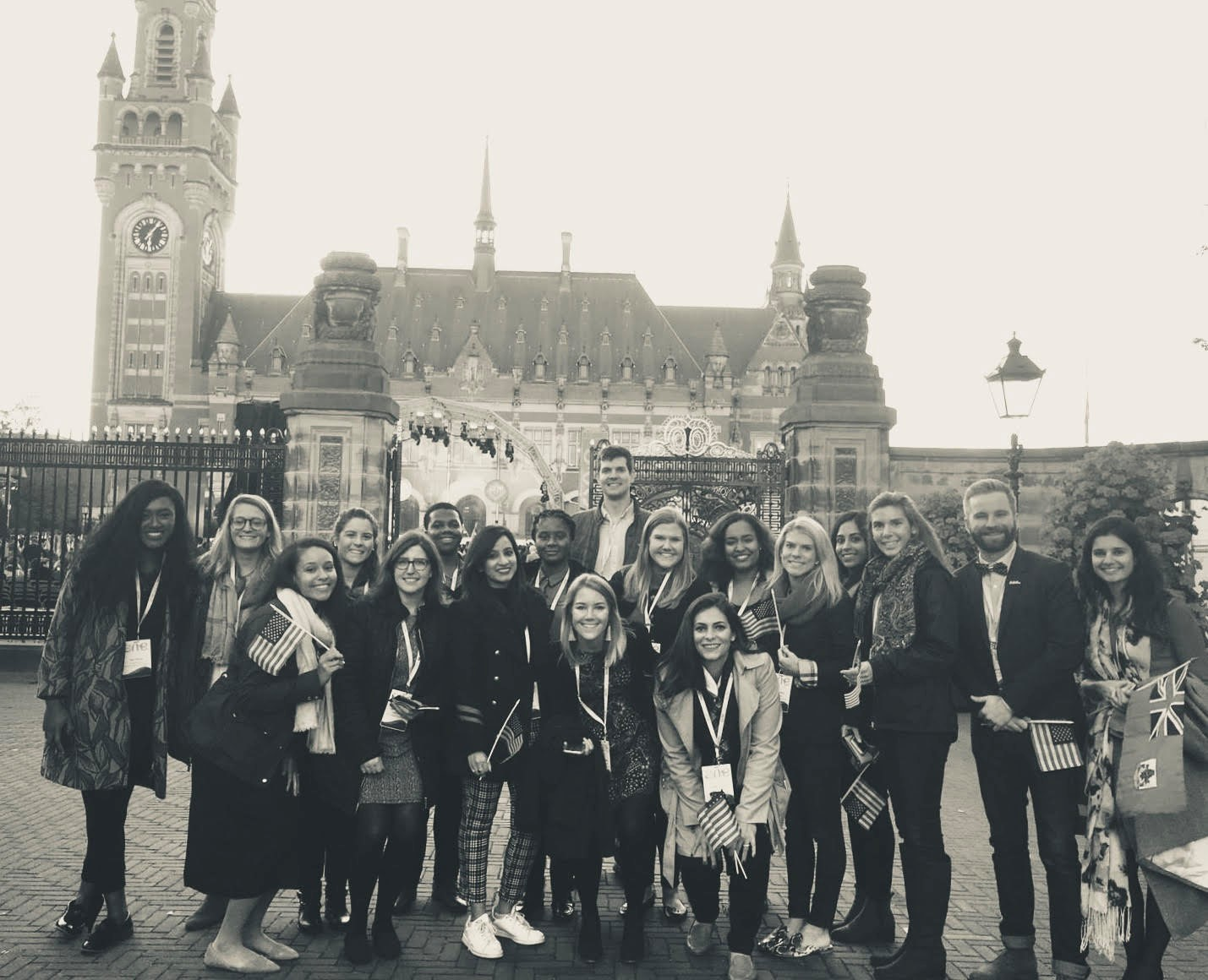 A group of KPMG One Young World Ambassadors gather outside of Peace Palace, The Hague.